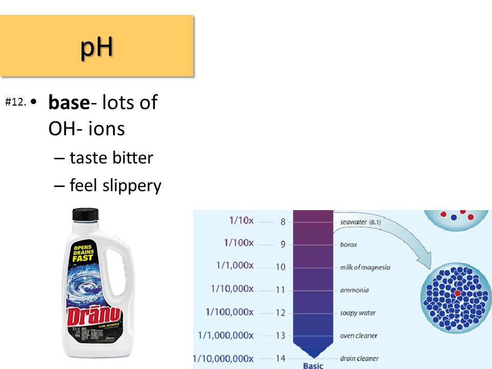 pHpH base- lots of OH- ions – taste bitter – feel slippery #12.