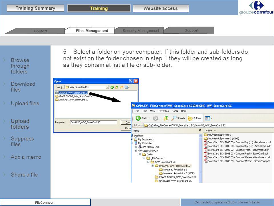 Centre de Compétence BtoB – Internet/Intranet FileConnect 5 – Select a folder on your computer.