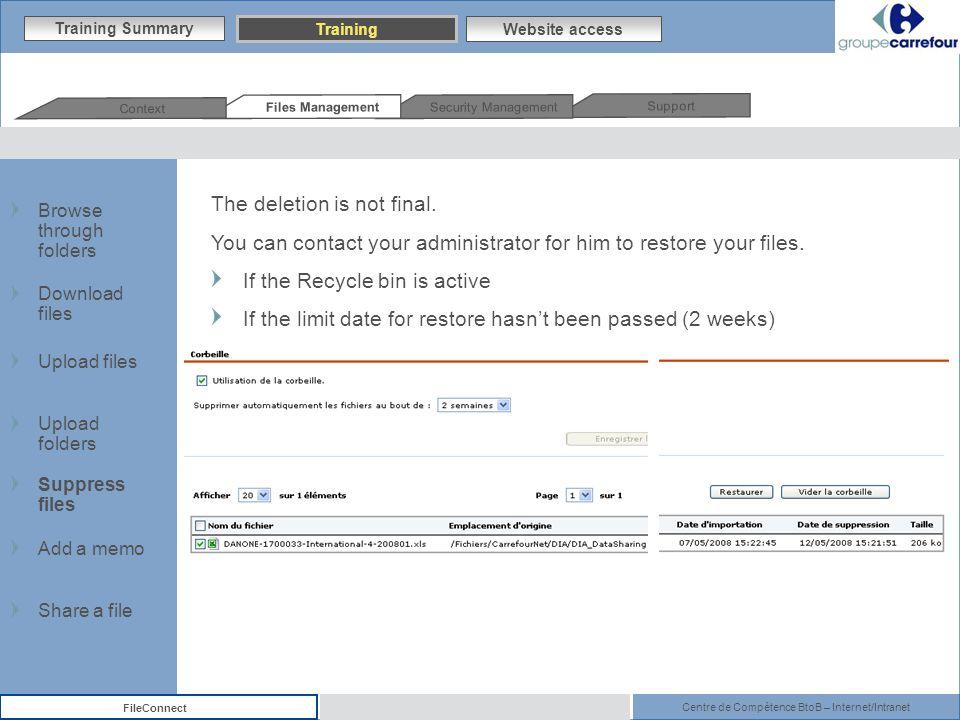Centre de Compétence BtoB – Internet/Intranet FileConnect The deletion is not final.