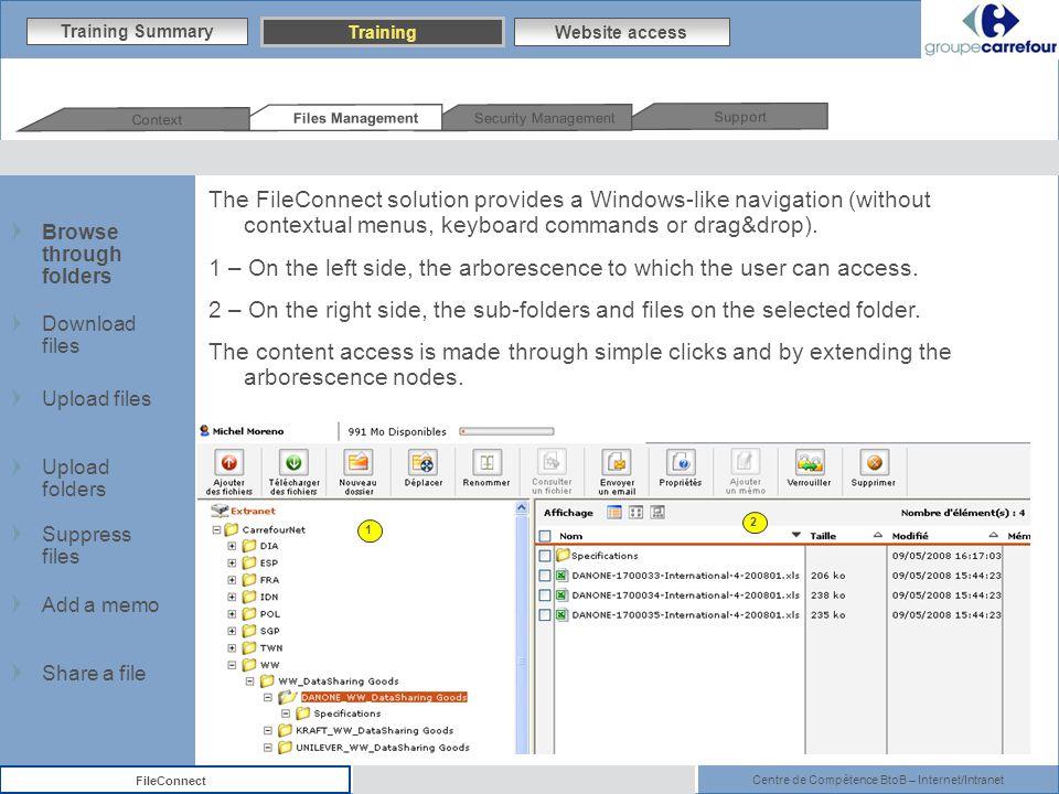 Centre de Compétence BtoB – Internet/Intranet FileConnect The FileConnect solution provides a Windows-like navigation (without contextual menus, keyboard commands or drag&drop).