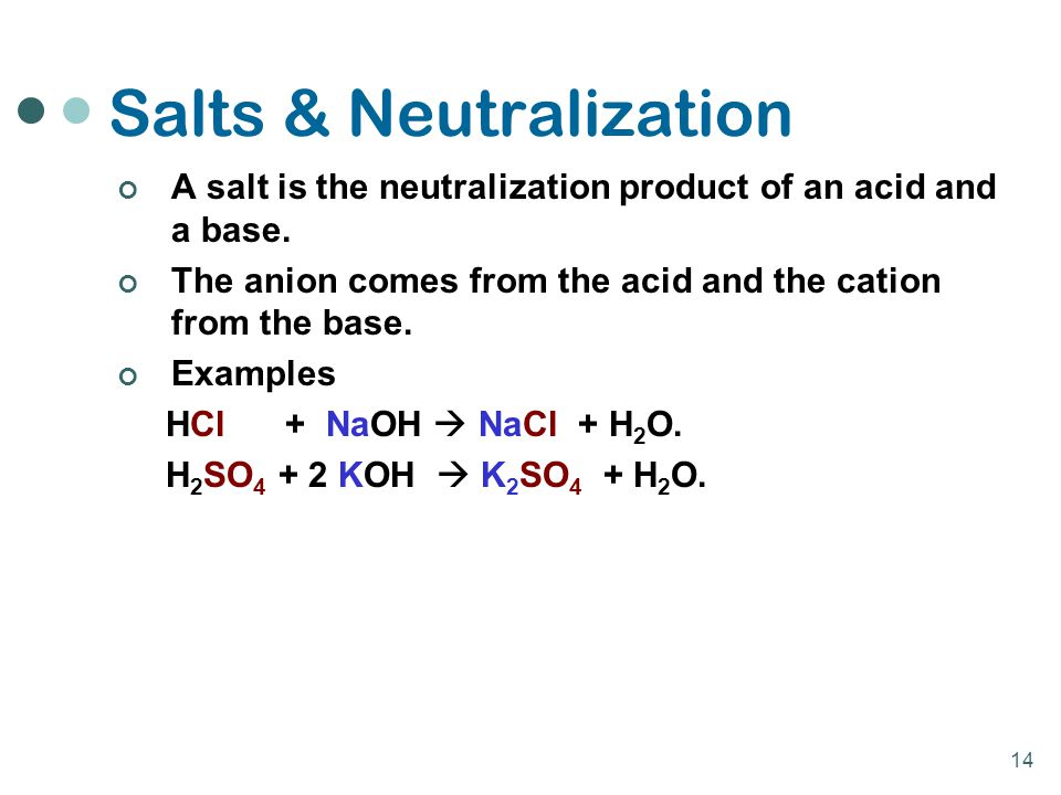 14 Salts & Neutralization A salt is the neutralization product of an acid and a base. The anion comes from the acid and the cation from the base. Exam