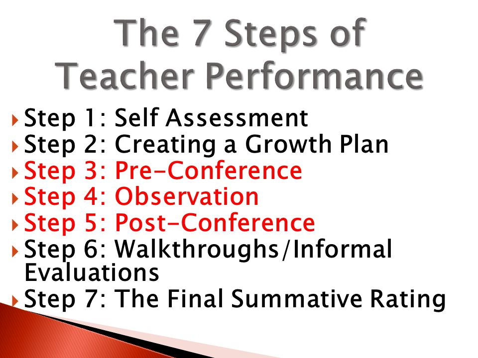  Step 1: Self Assessment  Step 2: Creating a Growth Plan  Step 3: Pre-Conference  Step 4: Observation  Step 5: Post-Conference  Step 6: Walkthroughs/Informal Evaluations  Step 7: The Final Summative Rating