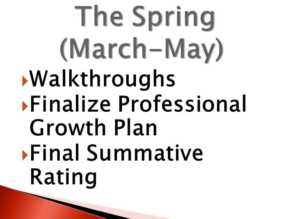  Walkthroughs  Finalize Professional Growth Plan  Final Summative Rating