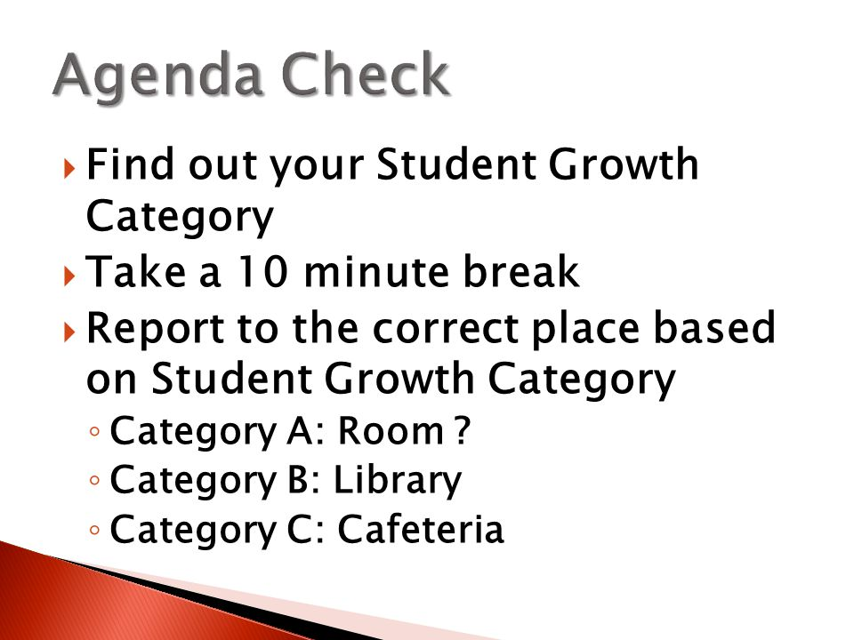  Find out your Student Growth Category  Take a 10 minute break  Report to the correct place based on Student Growth Category ◦ Category A: Room .