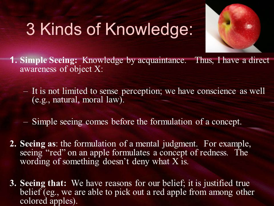 3 Kinds of Knowledge: 1. Simple Seeing: Knowledge by acquaintance.