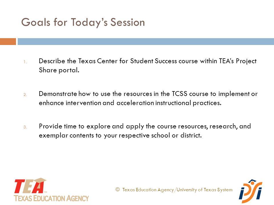 Select any Category. © Texas Education Agency/University of Texas System