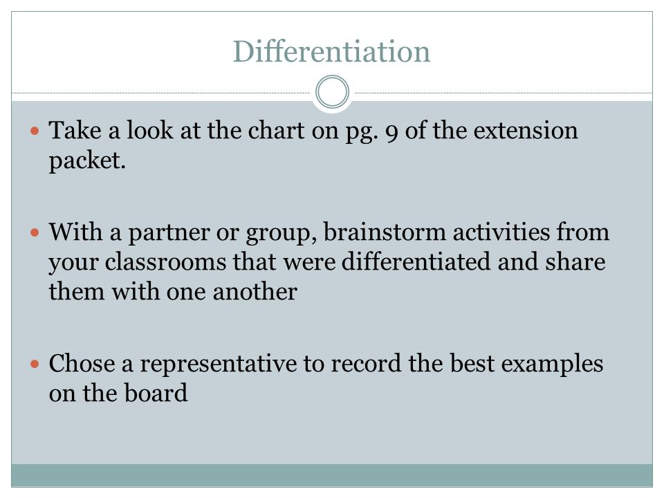Differentiation Take a look at the chart on pg. 9 of the extension packet.