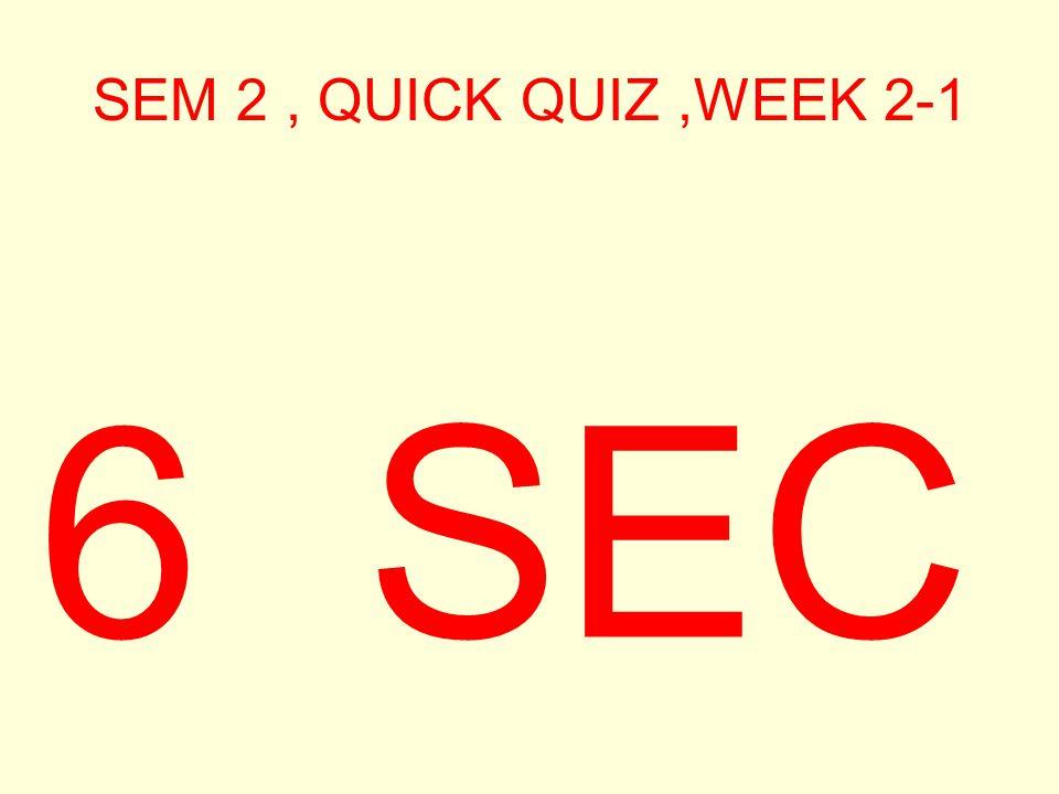 SEM 2, QUICK QUIZ,WEEK 2-1 7 SEC