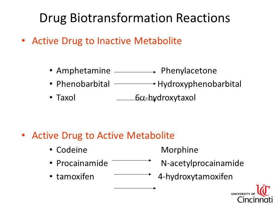 Drug Biotransformation Reactions Active Drug to Inactive Metabolite AmphetaminePhenylacetone Phenobarbital Hydroxyphenobarbital Taxol 6  -hydroxytaxo