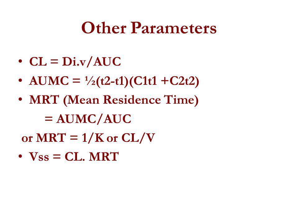 Other Parameters CL = Di.v/AUC AUMC = ½(t2-t1)(C1t1 +C2t2) MRT (Mean Residence Time) = AUMC/AUC or MRT = 1/K or CL/V Vss = CL. MRT