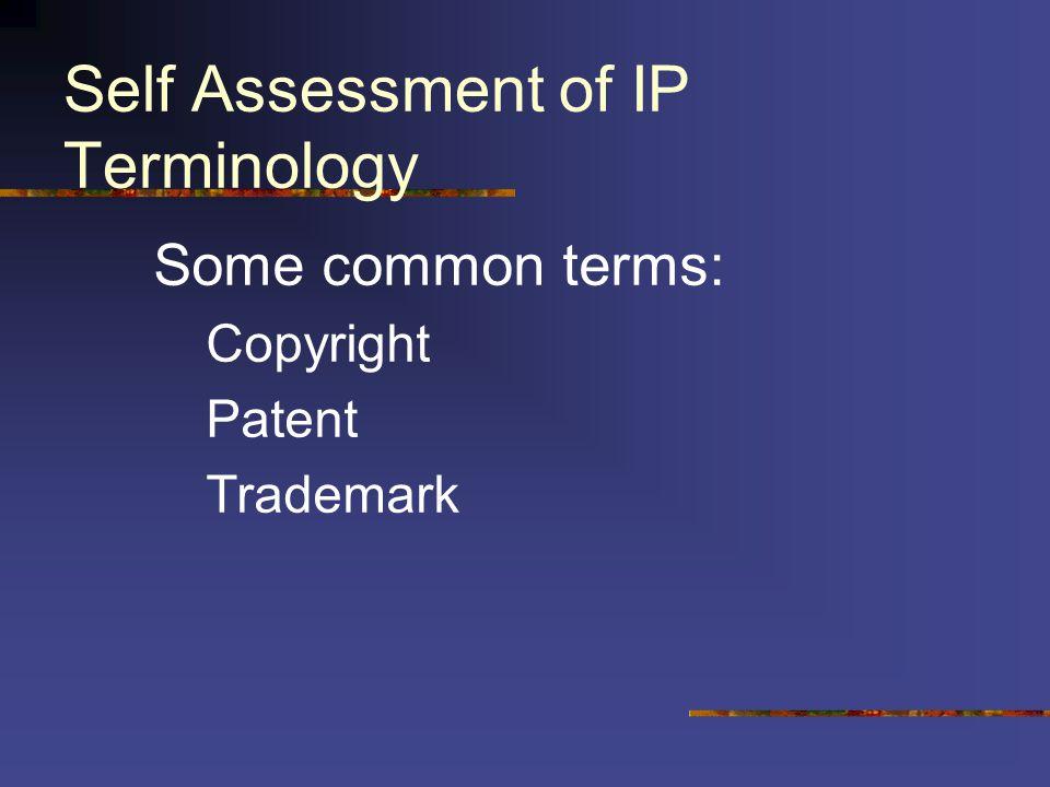 Self Assessment of IP Terminology 1.2.