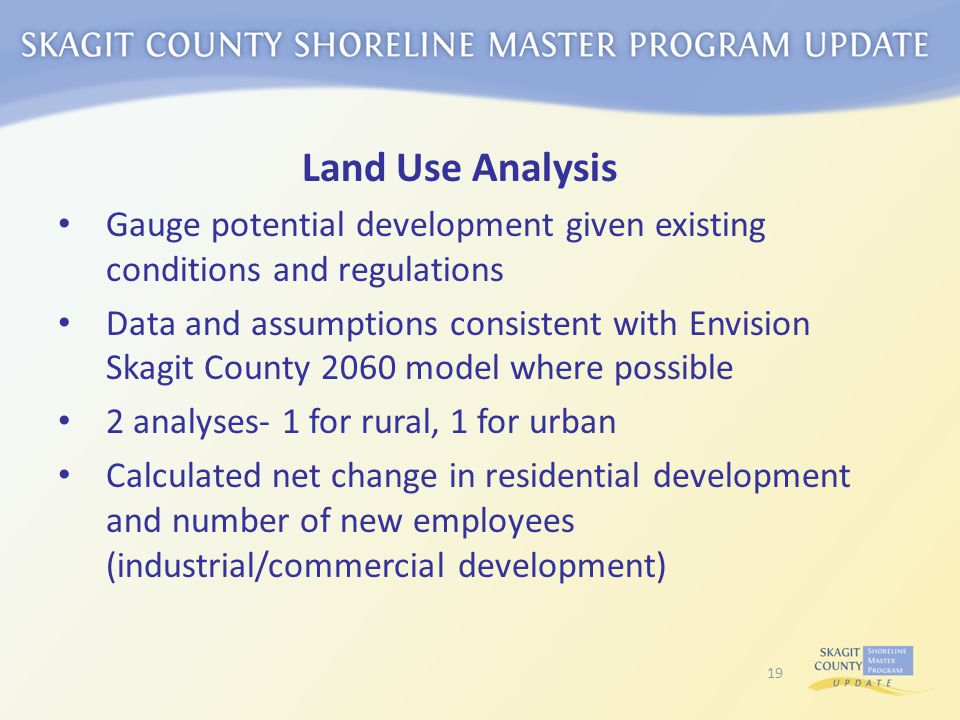 Land Use Analysis Gauge potential development given existing conditions and regulations Data and assumptions consistent with Envision Skagit County 2060 model where possible 2 analyses- 1 for rural, 1 for urban Calculated net change in residential development and number of new employees (industrial/commercial development) 19