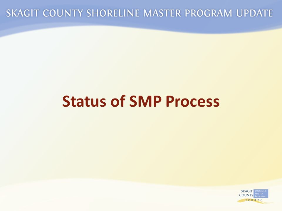 Inventory & Analysis SMP - Environment Designations - Goals - Policies - Regulations Cumulative Impacts Analysis Local Adoption Restoration Plan Ecology Review and Adoption Determine Jurisdiction Public Participation No Net Loss Standard WE ARE HERE Community Visioning