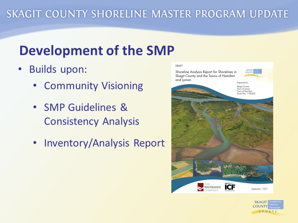 Development of the SMP Builds upon: Community Visioning SMP Guidelines & Consistency Analysis Inventory/Analysis Report