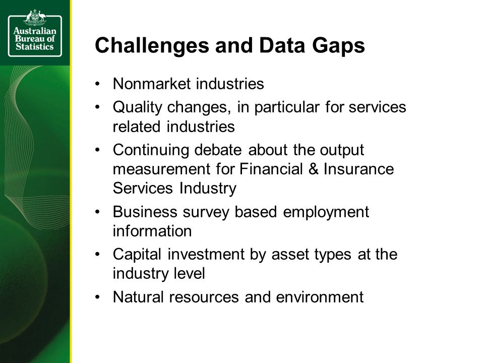 Challenges and Data Gaps Nonmarket industries Quality changes, in particular for services related industries Continuing debate about the output measurement for Financial & Insurance Services Industry Business survey based employment information Capital investment by asset types at the industry level Natural resources and environment