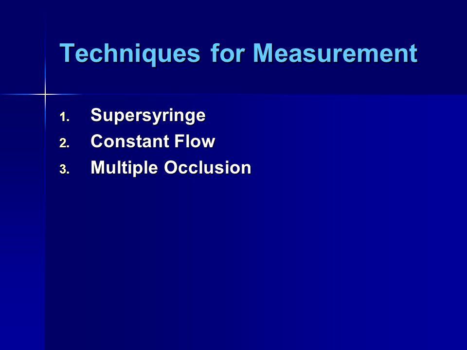 Techniques for Measurement 1. Supersyringe 2. Constant Flow 3. Multiple Occlusion