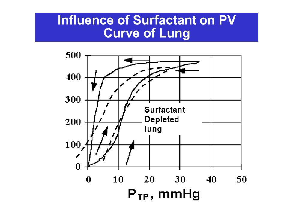 Surfactant Depleted lung Influence of Surfactant on PV Curve of Lung