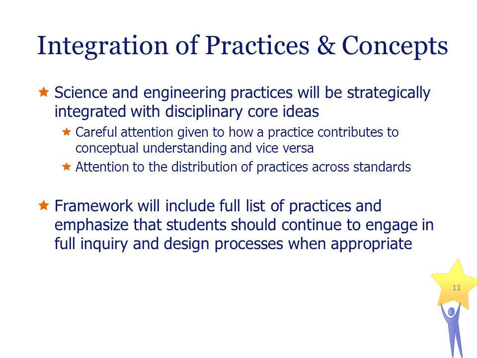 Integration of Practices & Concepts  Science and engineering practices will be strategically integrated with disciplinary core ideas  Careful attention given to how a practice contributes to conceptual understanding and vice versa  Attention to the distribution of practices across standards  Framework will include full list of practices and emphasize that students should continue to engage in full inquiry and design processes when appropriate 11