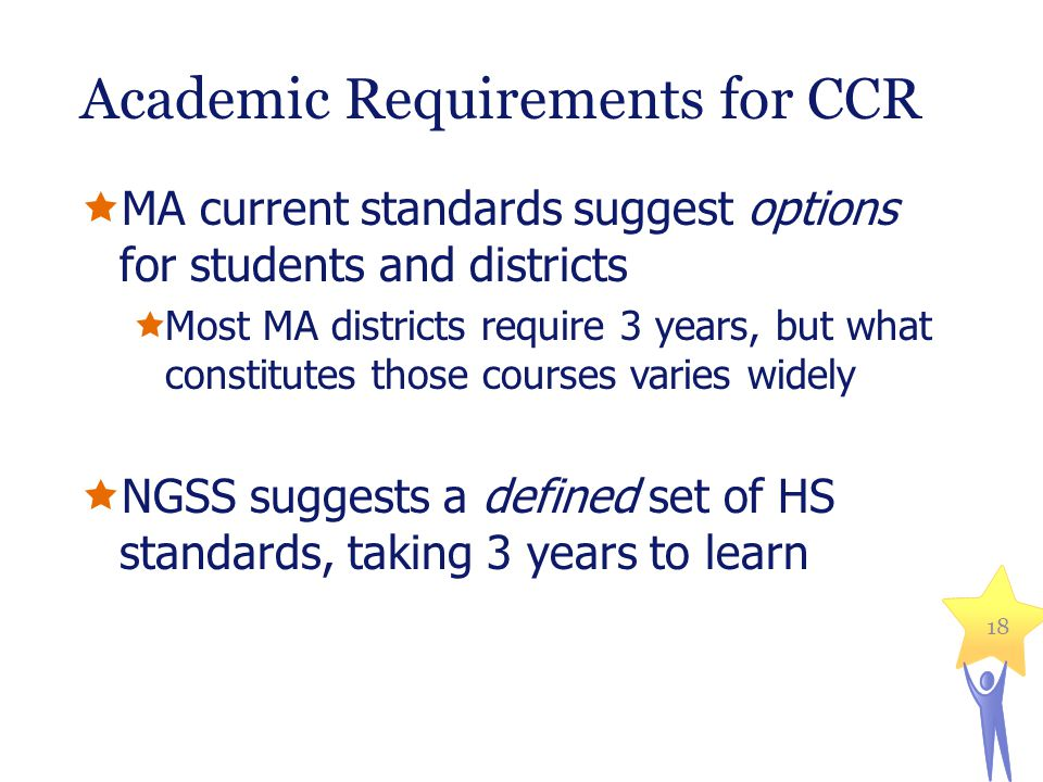 Academic Requirements for CCR  MA current standards suggest options for students and districts  Most MA districts require 3 years, but what constitu