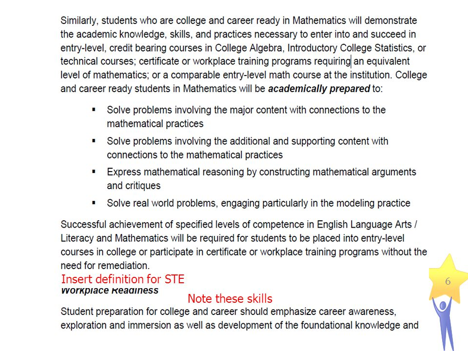 6 Insert definition for STE Note these skills