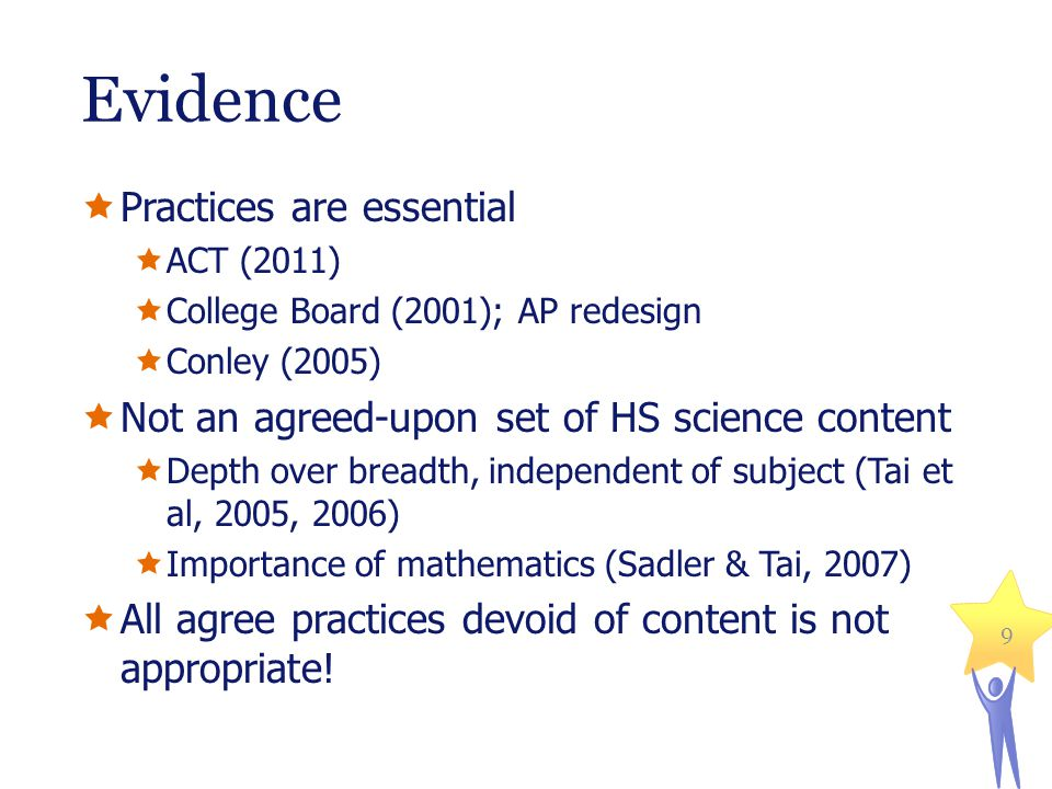 Evidence  Practices are essential  ACT (2011)  College Board (2001); AP redesign  Conley (2005)  Not an agreed-upon set of HS science content  Depth over breadth, independent of subject (Tai et al, 2005, 2006)  Importance of mathematics (Sadler & Tai, 2007)  All agree practices devoid of content is not appropriate.