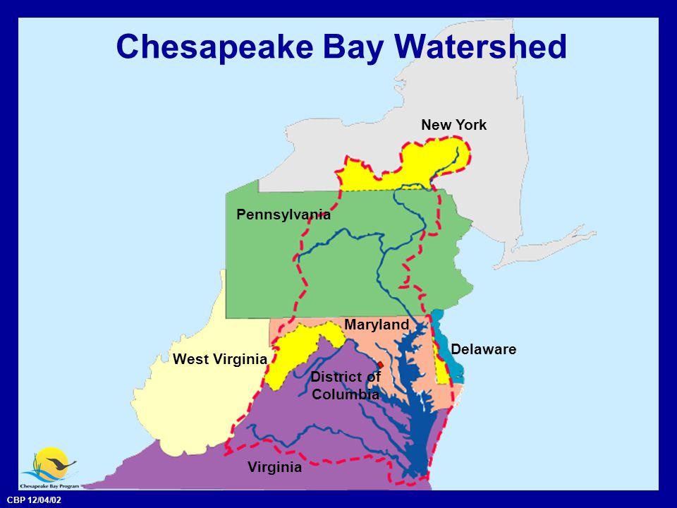 CBP 12/04/02 Chesapeake Bay Watershed Maryland Delaware New York District of Columbia Virginia West Virginia Pennsylvania