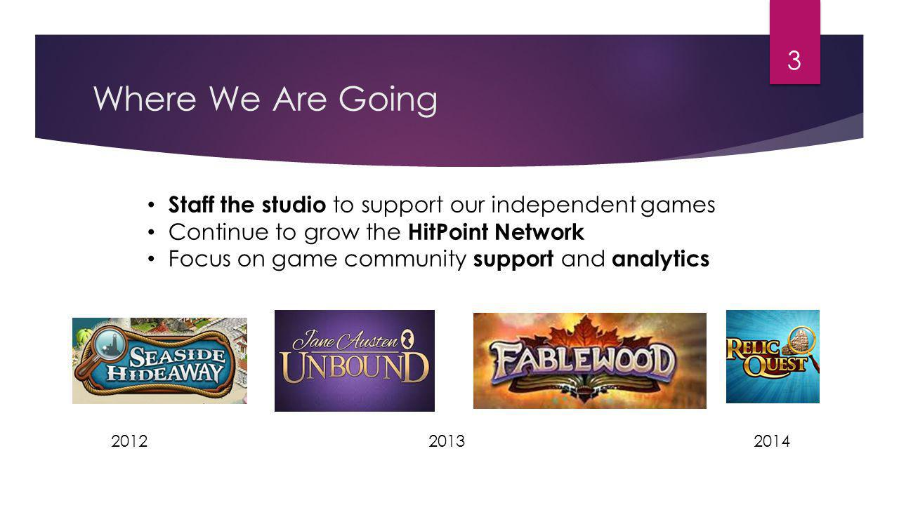Where We Are Going 3 Staff the studio to support our independent games Continue to grow the HitPoint Network Focus on game community support and analytics 201420122013