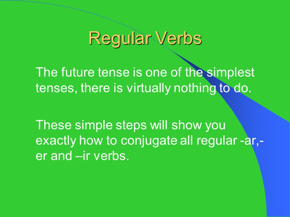 Review for Regular Verbs Take the raw verb.