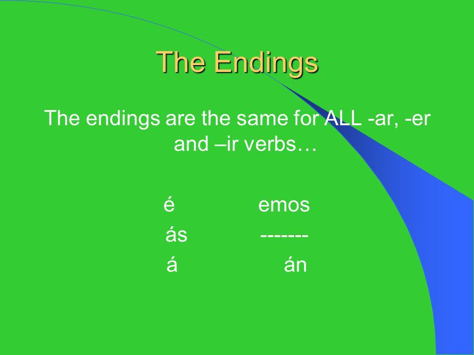 The Endings The endings are the same for ALL -ar, -er and –ir verbs… éemos ás------- á án