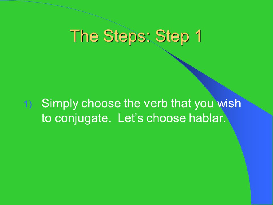 Step 2 2) Leave hablar in its raw state.