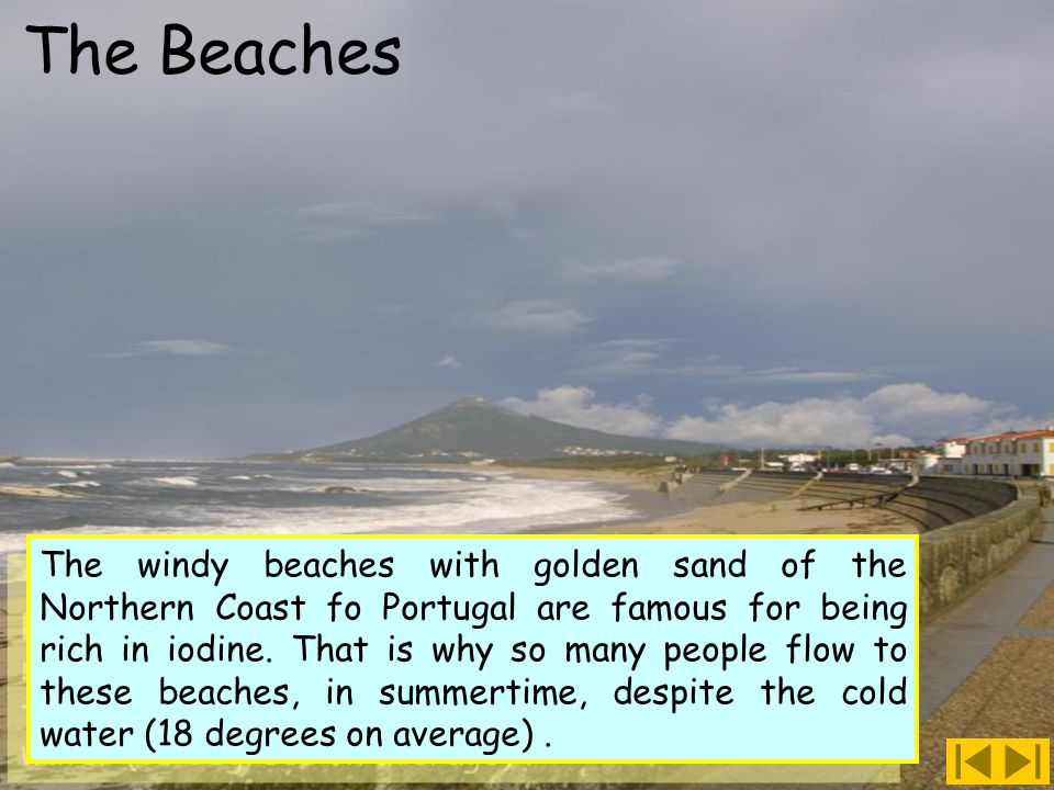 The windy beaches with golden sand of the Northern Coast fo Portugal are famous for being rich in iodine.