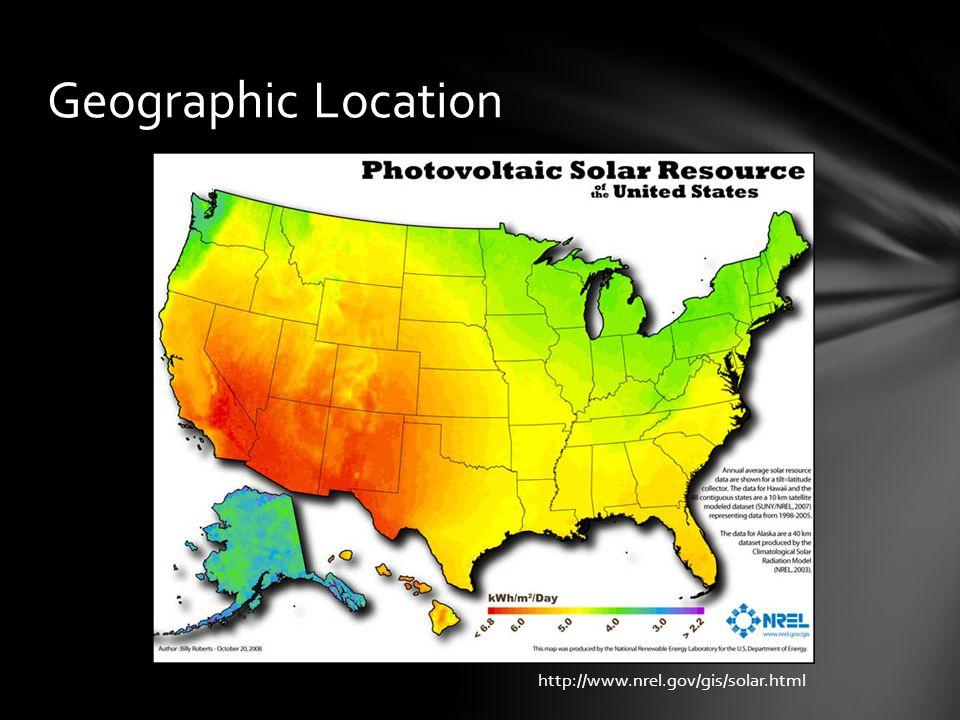 Geographic Location http://www.nrel.gov/gis/solar.html