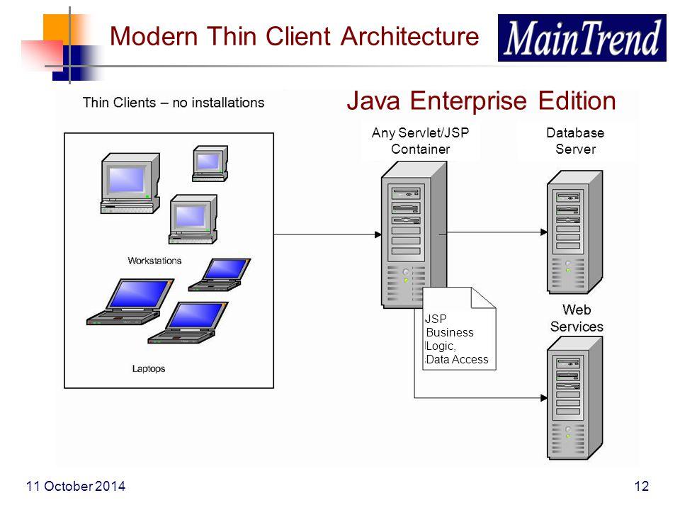 11 October 201412 Modern Thin Client Architecture Java Enterprise Edition Any Servlet/JSP Container Database Server JSP Business Logic, Data Access