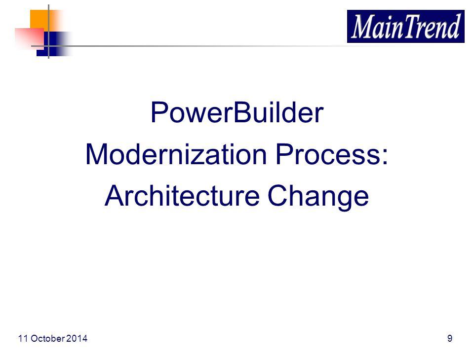 PowerBuilder Modernization Process: Architecture Change 11 October 20149
