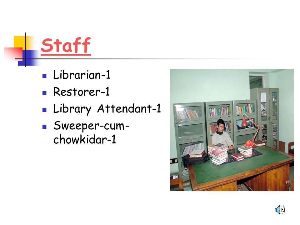 Staff Librarian-1 Restorer-1 Library Attendant-1 Sweeper-cum- chowkidar-1