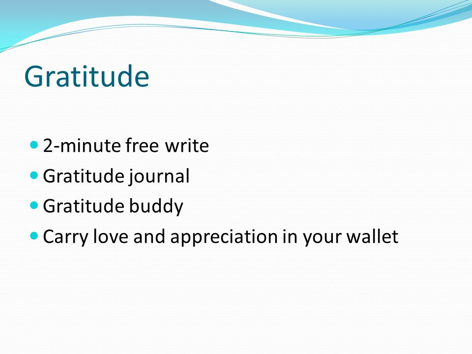 Gratitude 2-minute free write Gratitude journal Gratitude buddy Carry love and appreciation in your wallet