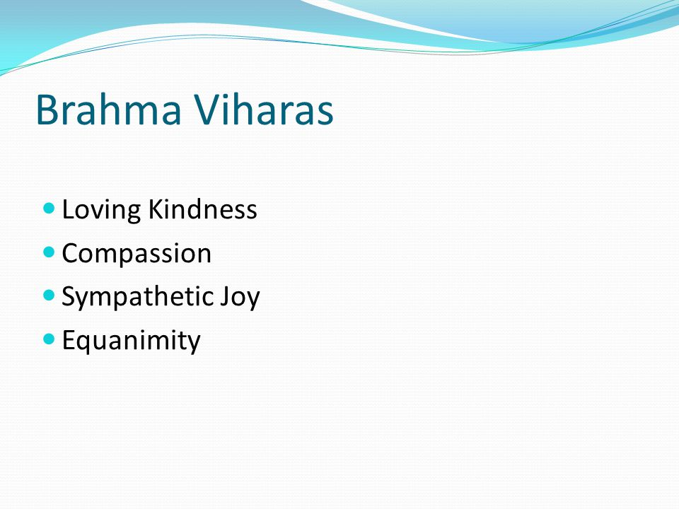 Brahma Viharas Loving Kindness Compassion Sympathetic Joy Equanimity
