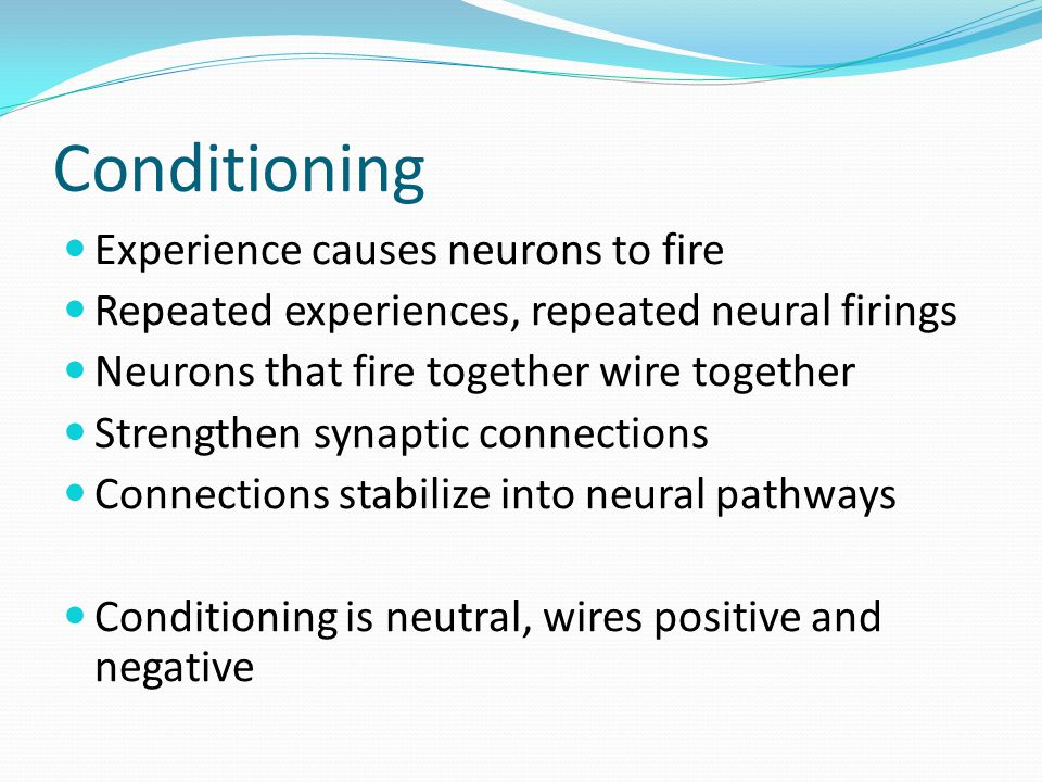 Conditioning Experience causes neurons to fire Repeated experiences, repeated neural firings Neurons that fire together wire together Strengthen synaptic connections Connections stabilize into neural pathways Conditioning is neutral, wires positive and negative