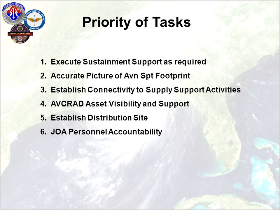 Priority of Tasks 1.Execute Sustainment Support as required 2.Accurate Picture of Avn Spt Footprint 3.Establish Connectivity to Supply Support Activities 4.AVCRAD Asset Visibility and Support 5.Establish Distribution Site 6.JOA Personnel Accountability