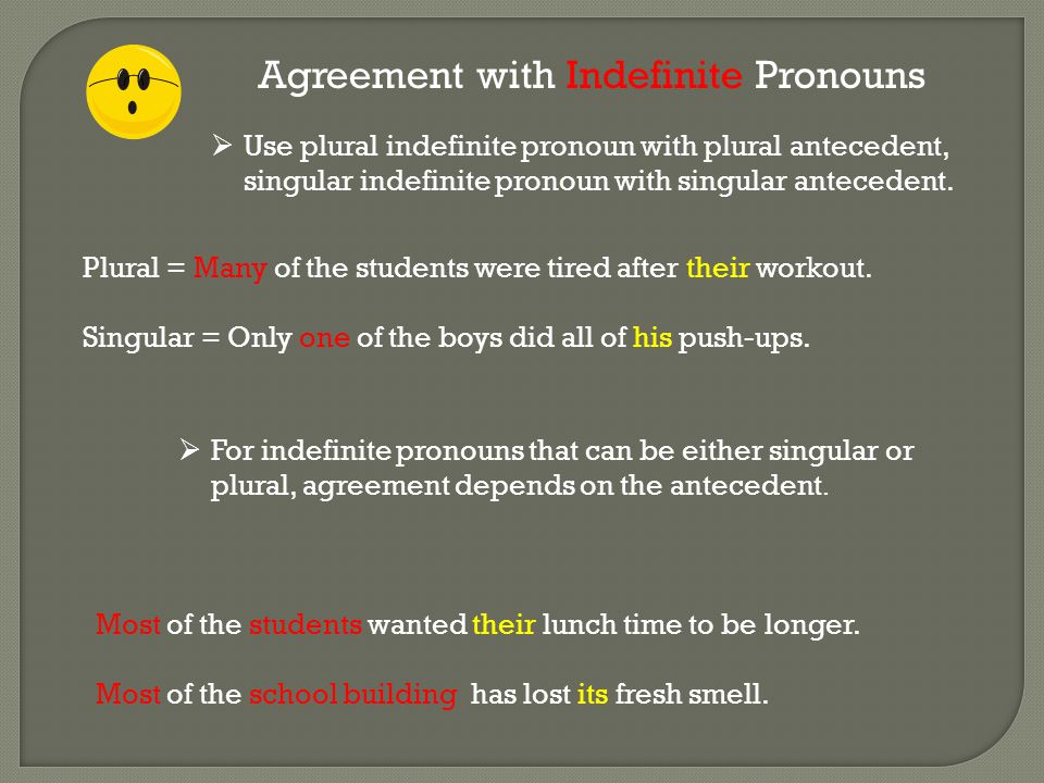 Agreement with Indefinite Pronouns  Use plural indefinite pronoun with plural antecedent, singular indefinite pronoun with singular antecedent. Plura