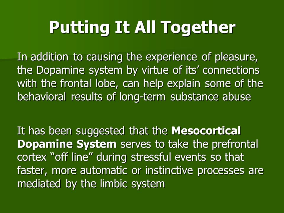 In addition to causing the experience of pleasure, the Dopamine system by virtue of its' connections with the frontal lobe, can help explain some of the behavioral results of long-term substance abuse It has been suggested that the Mesocortical Dopamine System serves to take the prefrontal cortex off line during stressful events so that faster, more automatic or instinctive processes are mediated by the limbic system Putting It All Together