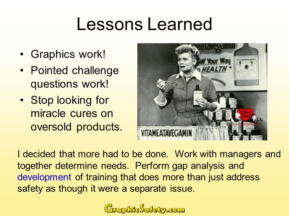 Lessons Learned Graphics work. Pointed challenge questions work.