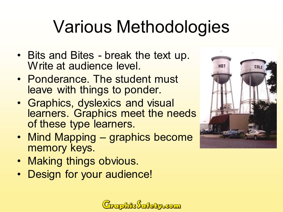 Various Methodologies Bits and Bites - break the text up.