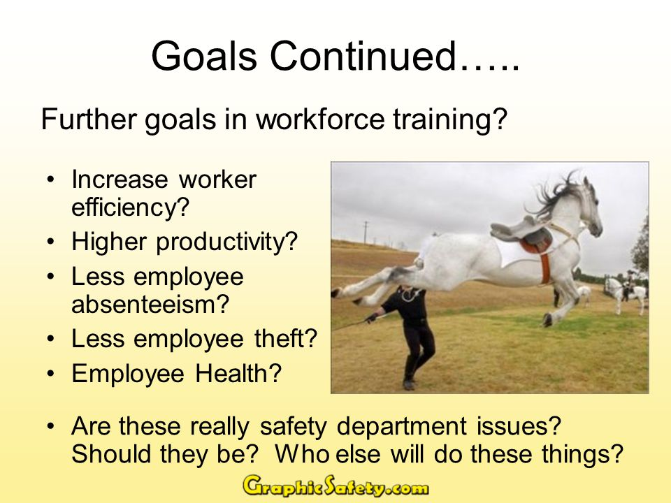 Goals Continued….. Further goals in workforce training.