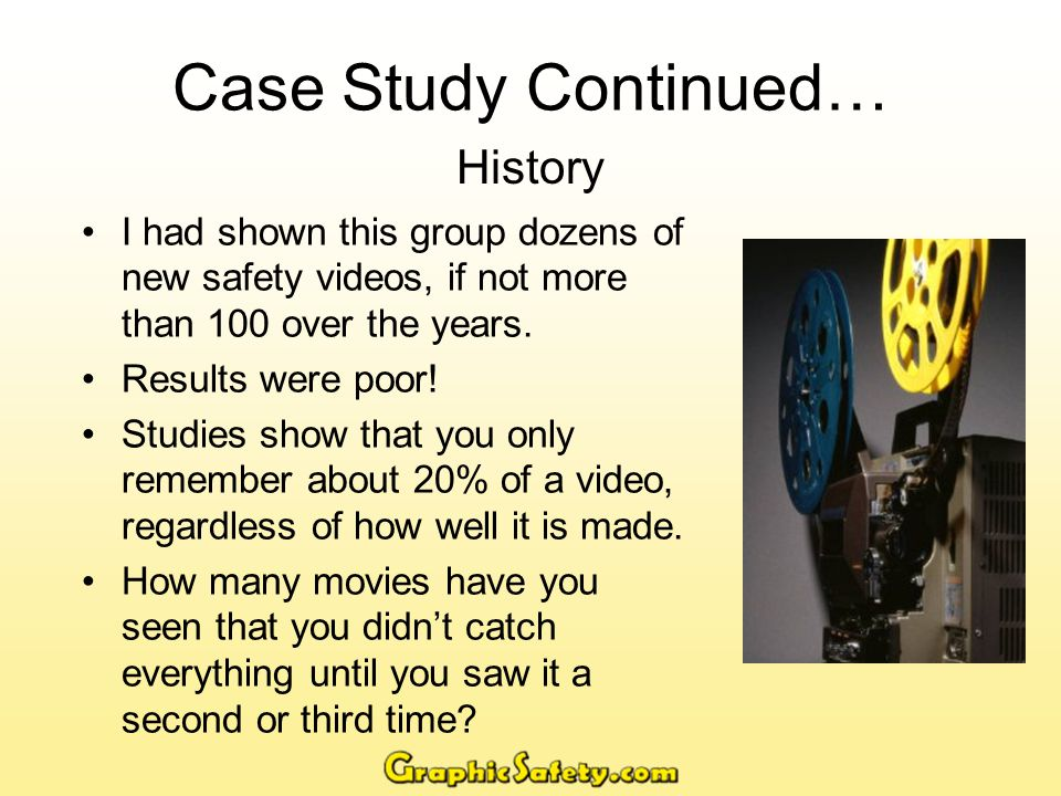 Case Study Continued… History I had shown this group dozens of new safety videos, if not more than 100 over the years.
