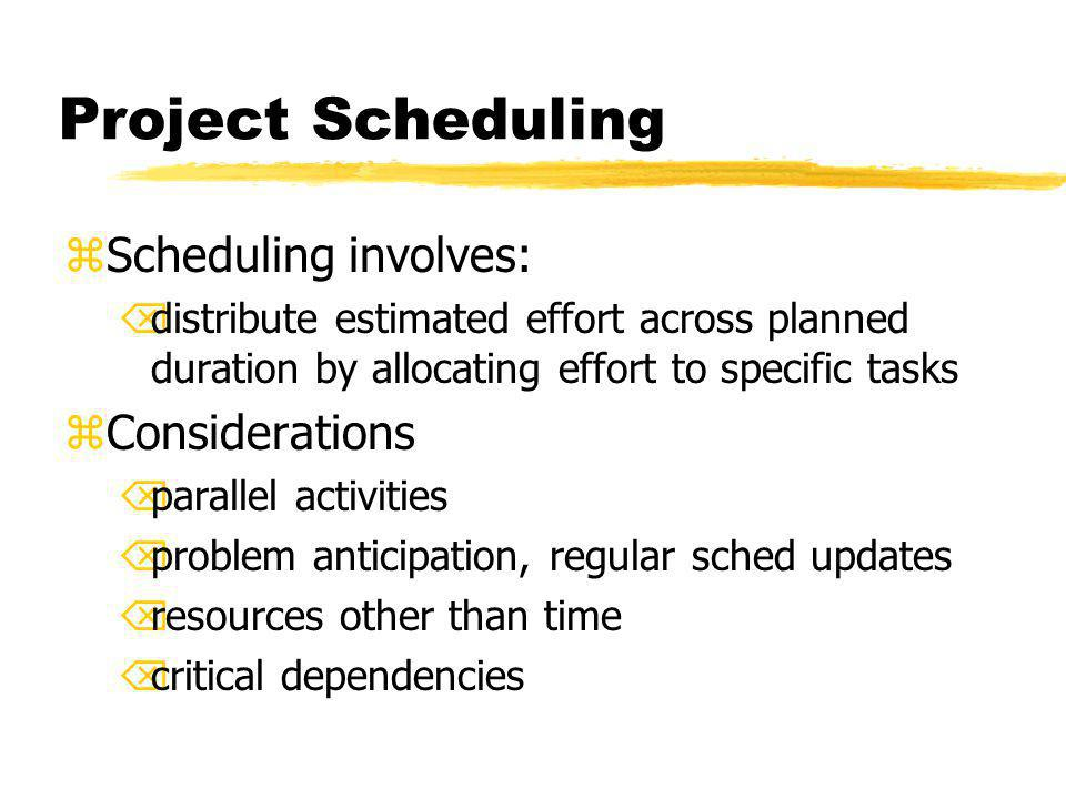 Project Scheduling zScheduling involves: Õdistribute estimated effort across planned duration by allocating effort to specific tasks zConsiderations Õ