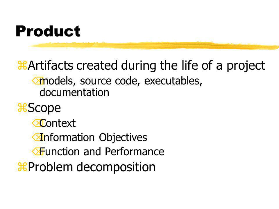 Product zArtifacts created during the life of a project Õmodels, source code, executables, documentation zScope ÕContext ÕInformation Objectives ÕFunc