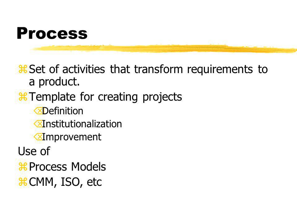 Process zSet of activities that transform requirements to a product.