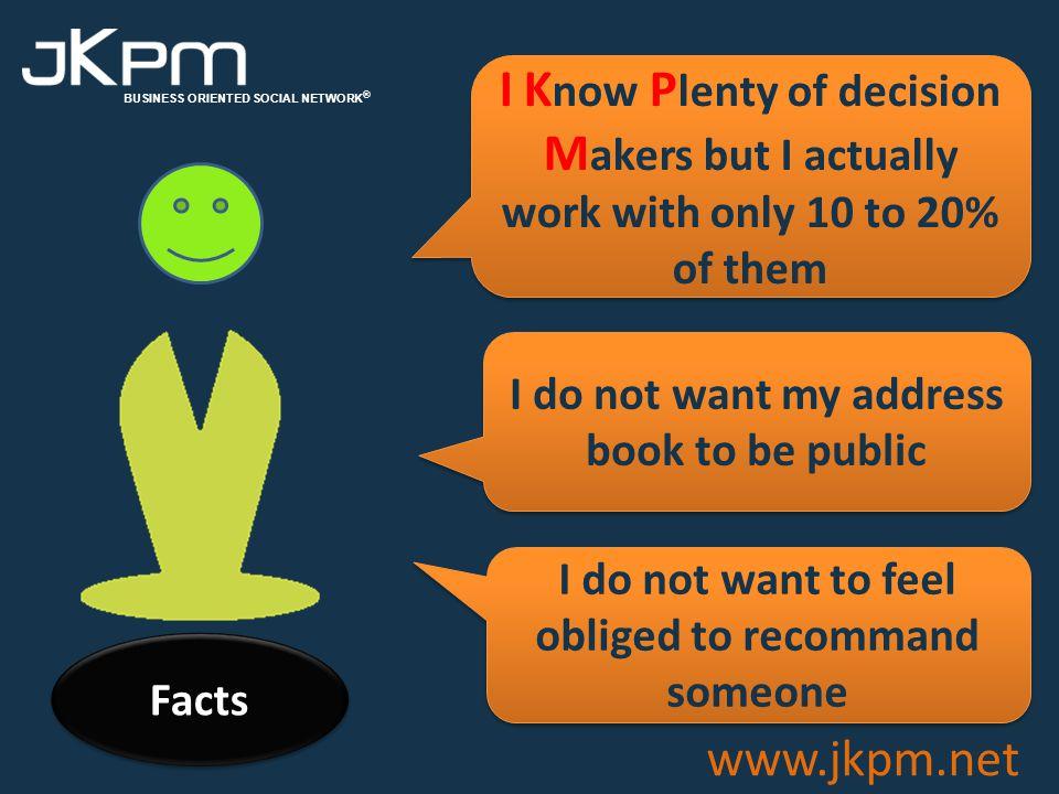 BUSINESS ORIENTED SOCIAL NETWORK ® www.jkpm.net Goals Facts