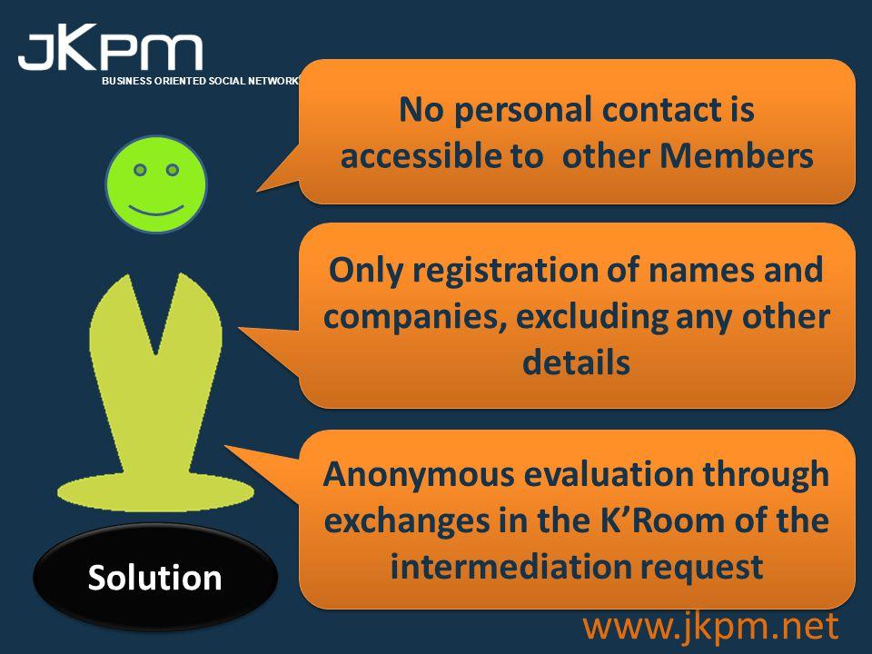 BUSINESS ORIENTED SOCIAL NETWORK ® www.jkpm.net Guarantees Facts Goals Solution